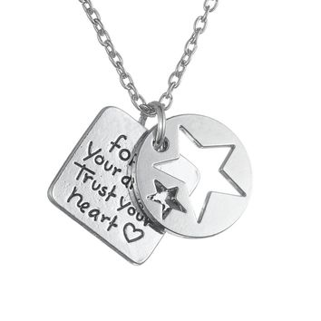 """Follow Your Dream"" Hand Stamped Charm Cluster Necklace"