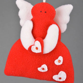 Handmade decorative wall hanging soft toy sewn of fleece red angel white wings