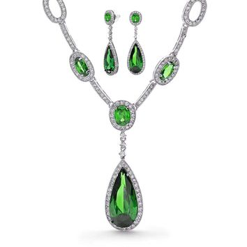 Green CZ Drop Y Necklace Earring Set Emerald Oval Silver Plated