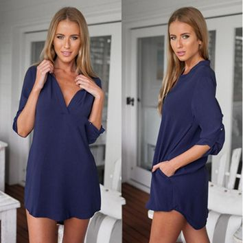 2016 Womens Chiffon Sexy V Neck t-shirt Nightgowns Plus Size Long Sleeve Slik Sexy Nightie Sleepwear Dress Sexy Nightdress