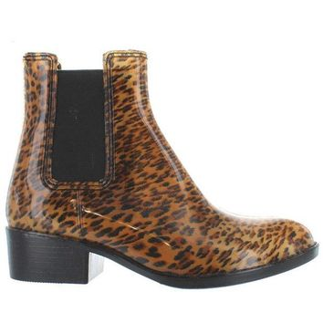 CREYONIG Jeffrey Campbell Stormy - High Gloss Cheetah Rubber Pull-On Rain Boot