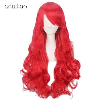 ccutoo 80cm Red Wavy Long Synthetic Hair The Little Mermaid Princess Cosplay Wigs Full Bangs Heat Resistance Fiber