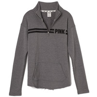 Curved-Hem Half-Zip - PINK - Victoria's Secret