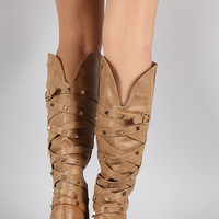 Pyramid Studded Crisscross Straps Knee High Boots