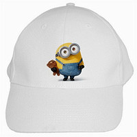 AMNI020 The Minions 2015 Minion White Cotton Peak Cap Anime Baseball Cap