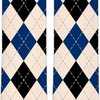 Retro argyle pattern knee high socks, vintage themed style accessory, blue, black