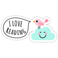I love reading sticker with cute, pink bird standing on a happy cloud