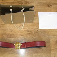 Authentic Rare Versace 3D Medusa Belt Autumn Red Size 95 32 - 36 Waist