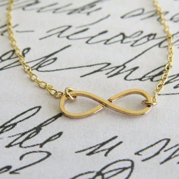 Infinity gold necklace - Tiny infinity necklace, Bridesmaids gift, Simple gold necklace, Gold jewelry, Sideways infinity necklace