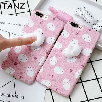kawaii Squishy Slow Rising Chick Rabbit Back Hard Phone Cover Case For iphone 6 6S 6plus 6Splus 7 7plus Squeeze Stretchy Toy