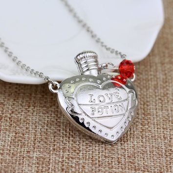 RJ Hot Sale LOVE POTION SIXTYNINE Necklaces High Quality Pink White LOVE POTION Heart Bottle Pendant Necklace Choker Gril Gift