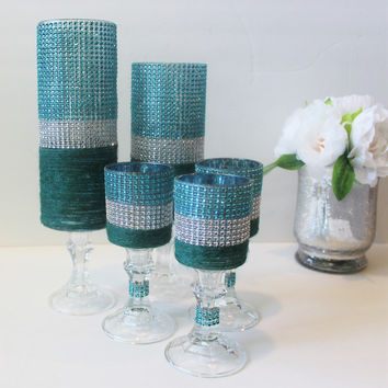 Bling Candle holder set , Turquoise/Robin Egg/Aqua blue/green and silver Rhinestone candle holder , wedding centerpiece, Tall candle holder