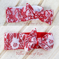 Red Valentines Headband Baby, Red Lace Head Wrap, White Lace Headwrap, Valentines Baby Bow Heandband, Red Head Wrap, Red Headwrap, Valentine