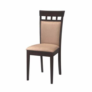 Upholstered Back Panel dining Chair with Fabric Seat, Beige And Brown, Set of 2