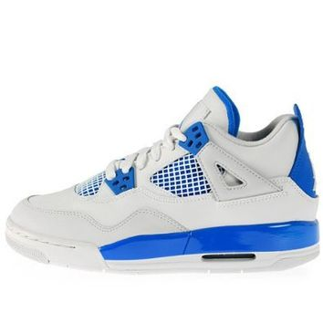 Youth Nike Air Jordan Retro 4 (GS) White / Military Blue / Neutral Grey 408452-105