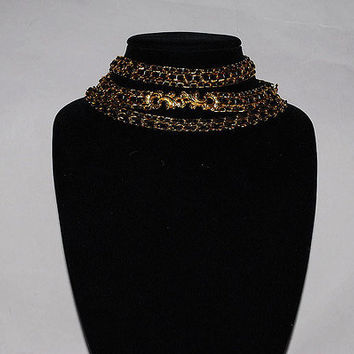 Authentic Chanel Vintage Damask Leaf Choker Necklace Belt
