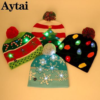 Aytai LED Christmas Beanie Ugly Christmas Sweater Christmas Tree Beanie Light Up Knitted Hat for Children Adult Christmas Party