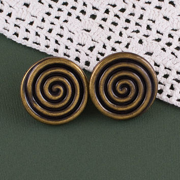 Vintage 1980s Spin Me Round Brass Earrings