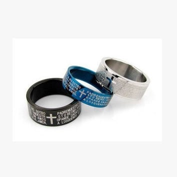 2016 New classic brief Bible cross ring for men unisex women rings alloy uhu400