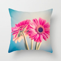 Acid Tongue, Pink Flower on Blue  Throw Pillow by Andrea Caroline