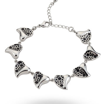 Stainless Steel & Black Heart Bracelet