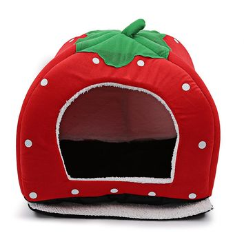 Stylish Washable Polka Dot Strawberry Pet Dog Cat Bed House