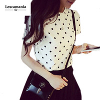 New Summer Autumn Women Fashion Casual Blouse Shirt Short Sleeve O-Neck Polka Dot Top Shirts Blouses
