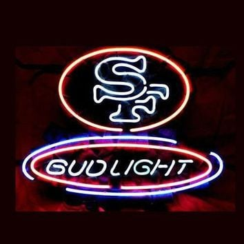 """Business NEON SIGN board For SF San Francisco 49ers Football Bud REAL GLASS Tube BEER BAR PUB Club Shop Light Signs 17*14"""""""