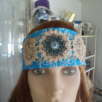 Upcycled Redesigned Hippie Boho Gypsy Bandana Headband with Hand Dyed Tea Stained Lace Doilies and Blue Pendant Blue