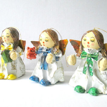Paper Mache Angel Ornaments /  Vintage 1970s Christmas Angels / Mid Century Holiday Ornaments
