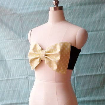 Bow Bandeau Bikini Top-Swimsuit Top-Polka Dot Bow Biniki
