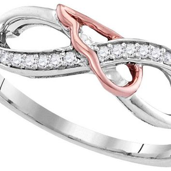 Sterling Silver Womens Round Diamond 2-tone Infinity Band Ring 1/10 Cttw