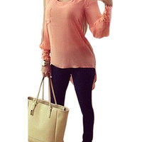 Cut out Shirt with High Low Hem