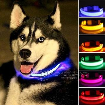 LED Nylon Pet Collar Night Safety LED Light-up Flashing Glow in the Dark Lighted Dog Collars Free shipping