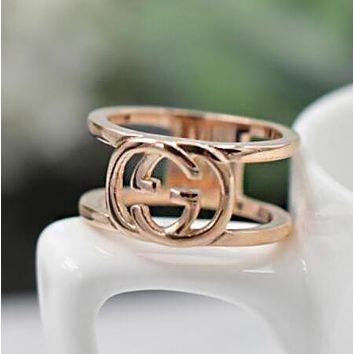 GUCCI Trending Women Stylish Double G Letter Titanium Steel Ring Rose Golden I13076-1