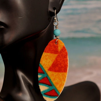 Afrocentric Earrings, Womens Jewelry,Fabric Earrings,Ethnic Earrings, Drop Earrings, Dangle Earrings,Fabric Jewelry,Tribal Earrings