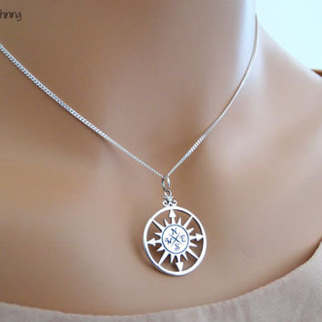 Best Friend necklace Friendship necklace Compass Rose Necklace Sterling  silver Compass Necklace Compass Rose Jewelry Compass 20d657e3cfcd