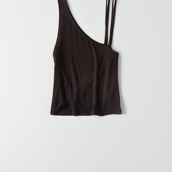 AEO Soft & Sexy Strappy One-Shoulder Tank, True Black