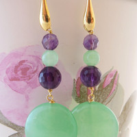 Green jade earrings, purple amethyst earrings, sterling silver 925 gold 18 K, stone dangle earrings, uk gemstone jewels, italian jewelry