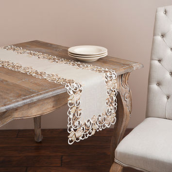 Saro Embroidered and Cutwork Ecru Table Linen | Overstock.com Shopping - The Best Deals on Table Runners