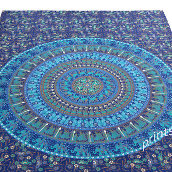 Elephant Mandala Tapestry, Hippie Tapestries, Tapestry Wall Hanging, Indian Hippy Tapestry, Bohemian Bedspread Picnic Beach Sheet coverlet