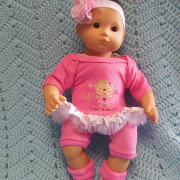 "AMERICAN GIRL Bitty Baby Clothes ""Hugs and Kisses Monkey"" (15 inch) doll outfit dress, leggings, booties/ socks, and headband hair clip"