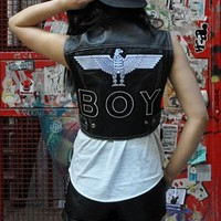 Rare Vintage 'Boy London' Leather Waistcoat & Badge from JCR-Planet