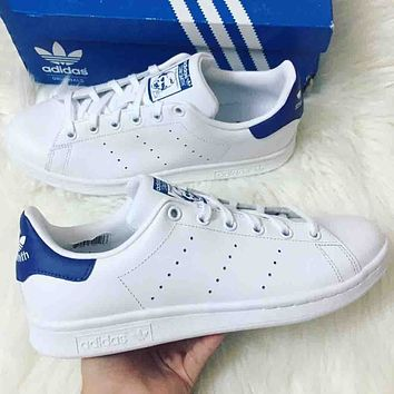 Adidas Stan smith men and women casual fashion sneakers F  White+blue