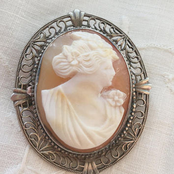 Sterling Filigree Cameo Brooch, Cannetille Sterling Silver Setting, Carved Shell Cameo Pin, Cameo jewelry