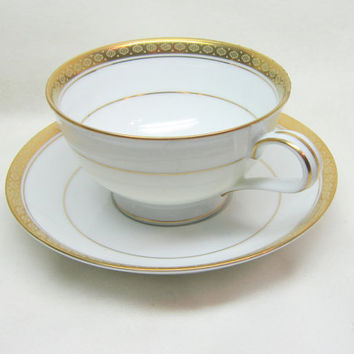 Vintage China Tea Coffee Cups Noritake China Teacup Saucer Set Gold White Tea Cup Set Richmond Pattern Noritake Porcelain China