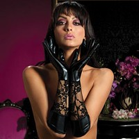 Sexy Wet Look And Lace Elbow Length Gloves