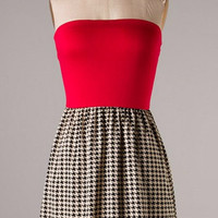 Houndstooth Print Dress - Red