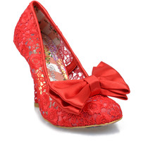 Irregular Choice Red Floral Lace Mal E Bow Pumps