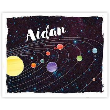 Watercolor Solar System 8 x 10 Art Print